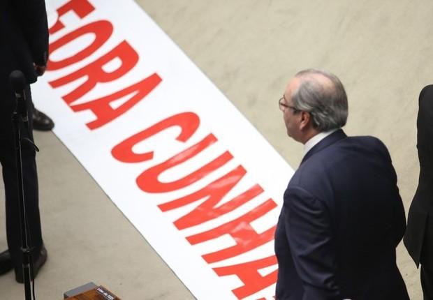 Eduardo Cunha, em sessão da Câmara que decidiu cassar seu mandato (Foto: Fabio Rodrigues Pozzebom/Agência Brasil)
