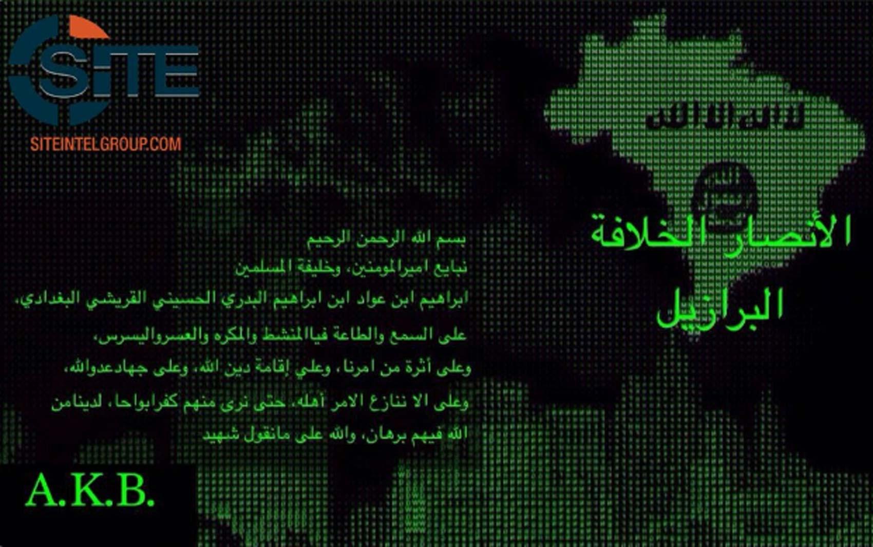 Canal chamado Ansar al-Khilafah Brazil publica mensagem de apoio ao Estado Islâmico no Telegram (Foto: Reprodução/ Twitter/ SITE Intel Group)