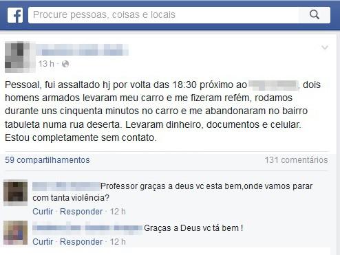 Professor é vítima de assalto e é mantido refém por quase uma hora em Teresina (Foto: Reprodução/Facebook)