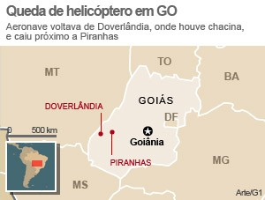 Mapa Doverl&#226;ndia Piranhas, em Goi&#225;s (Foto: Editoria de Arte/G1)