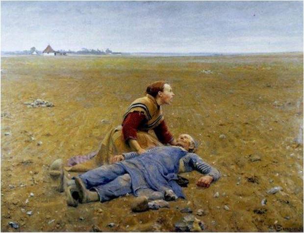 """O quadro Udslidt (algo como """"desgastado"""", em dinamarquês), do pintor Hans Andersen Brendekilde (1857-1942) retrata uma mulher que chora a morte do pai num campo recém-arado por ele (Foto: Reprodução)"""