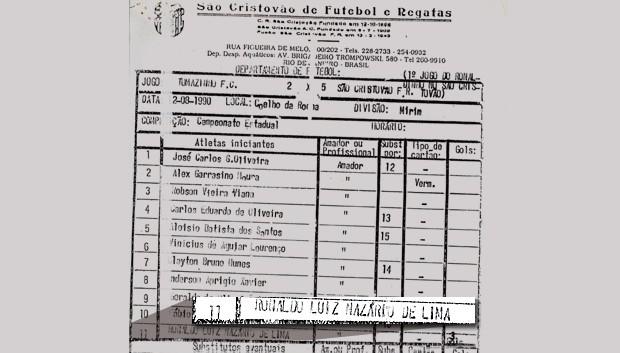 súmula primeiro jogo Ronaldo São Cristovão (Foto: Reprodução)