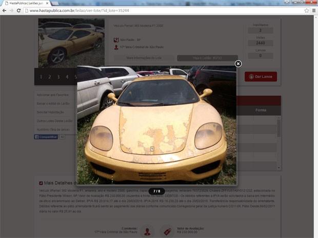 Ferrari 360 Modena F1 apreendida em ação judicial por tráfico de drogas vai a leilão em São Paulo (Foto: Divulgação/HastaPública Leilões)