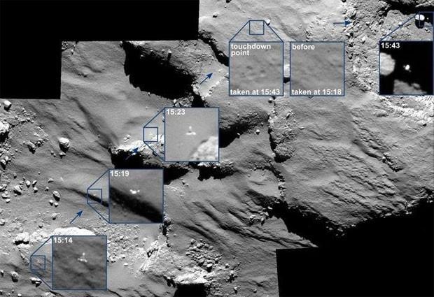 Imagem mostra os pontos em que a Philae quicou na superfície do cometa, em um processo que levou 2 horas (Foto: BBC/ESA)