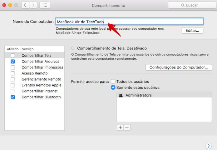 Mudando o nome do MacBook (Foto: Reprodução/Helito Bijora)