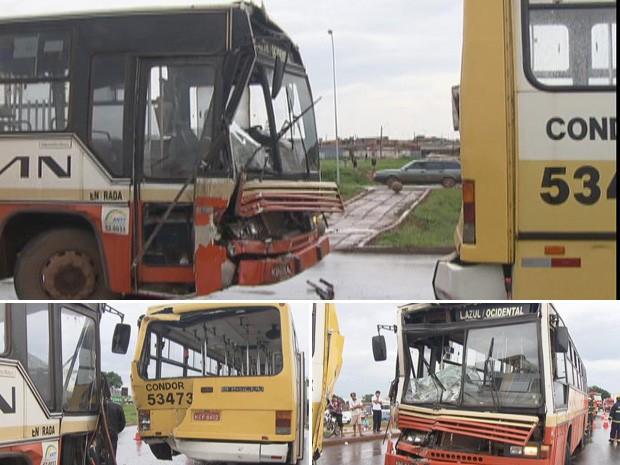 Dois ônibus se envolveram em acidente na DF-290, na manhã desta quinta-feira (8) (Foto: TV Globo/Reprodução)