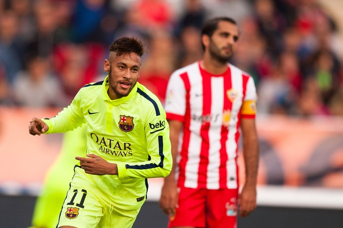 Neymar, Almeria x Barcelona (Foto: AP)