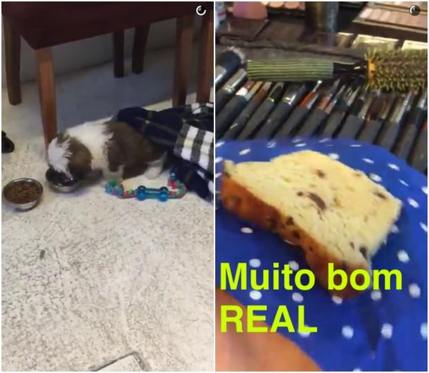 Cachorrinho e café da manhã de Bruna Marquezine (Foto: Reprodução/Snapchat)