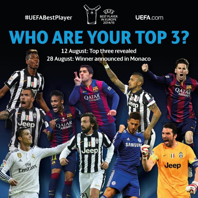 Finalistas prêmio Uefa (Foto: Reprodução/Twitter)