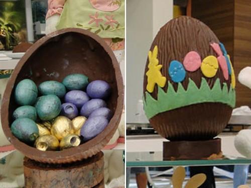 Decoração de ovos de Páscoa com spray e ovinhos de chocolate