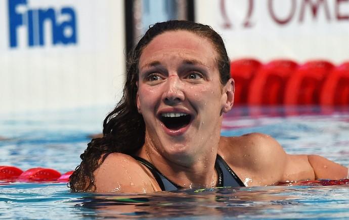 Katinka Hosszú após ver seu tempo, novo recorde mundial (Foto: Matthias Hangst / Getty Images)