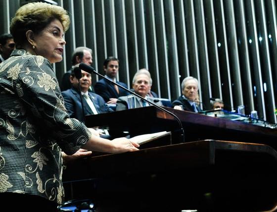 Dilma Roussef presidente afastada durante depoimento no Senado (Foto: Geraldo Magela/Agência Senado)