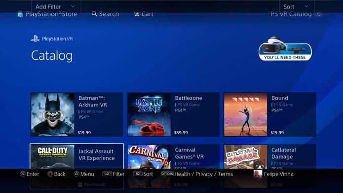 Alguns dos jogos disponíveis na PS Store (Foto: Reprodução/Felipe Vinha)