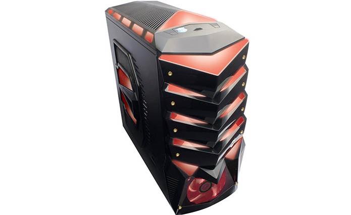 Gabinete da Dazz vem com visual gamer e LED vermelho (Foto: Divulgação/Dazz)