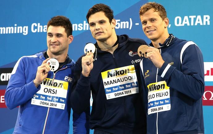 Orsi, Manadou e Cielo, Mundial de natação Doha (Foto: Satiro Sodré / SSpress)