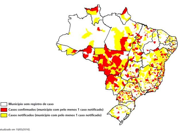 Mapa mostra municípios e regiões do país com mais notificações de zika no país (Foto: Ministério da Saúde/Reprodução)