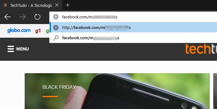 Abra o navegador e entre com o link para o perfil no Facebook (Foto: Reprodução/Helito Bijora)