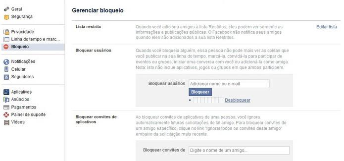 Acesse as opções de Bloqueio no Facebook (Foto: Reprodução/Barbara Mannara)