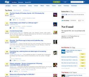 Página principal do serviço Digg, de recomendação de conteúdos. (Foto: Reprodução)