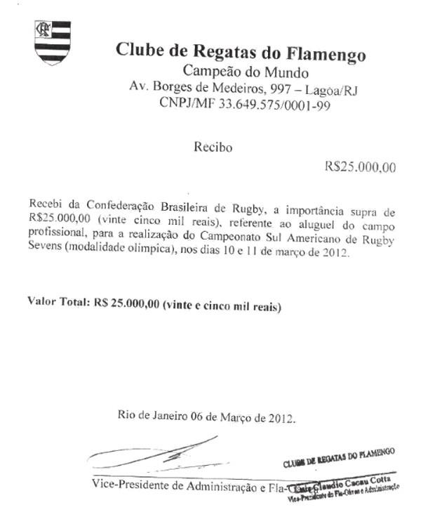 Recibos de pagamento de aluguel de campo do Flamengo (Foto: Reprodução)
