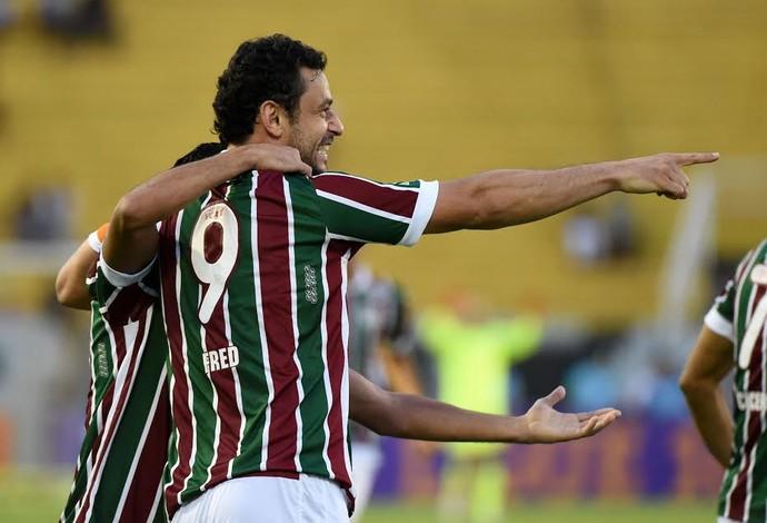 Fred comemora gol - Fluminense x Botafogo (Foto: André Durão)
