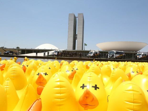 Protesto com Patos na Esplanada dos Ministérios (Foto: André Dusek/Estadão Conteúdo)