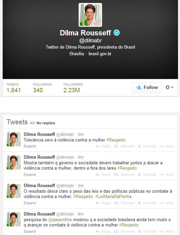 No twitter, Dilma pede tolerância zero à violência contra a mulher (Foto: Reprodução)