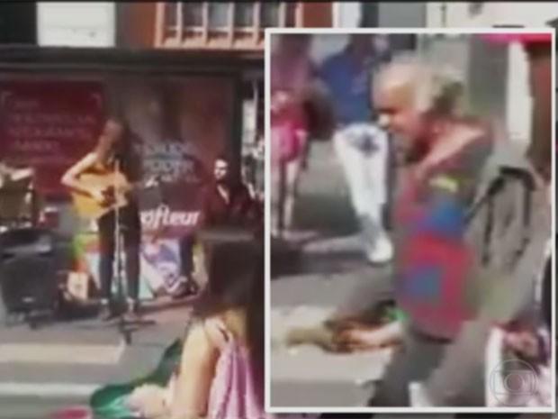 Vídeo flagrou estranho tentando levar criança na Avenida Paulista, em São Paulo, no domingo (Foto: Reprodução/TVGlobo)
