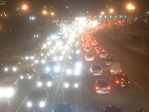 Trânsito congestionado na Terceira Ponte (Foto: Divulgação/ Rodosol)
