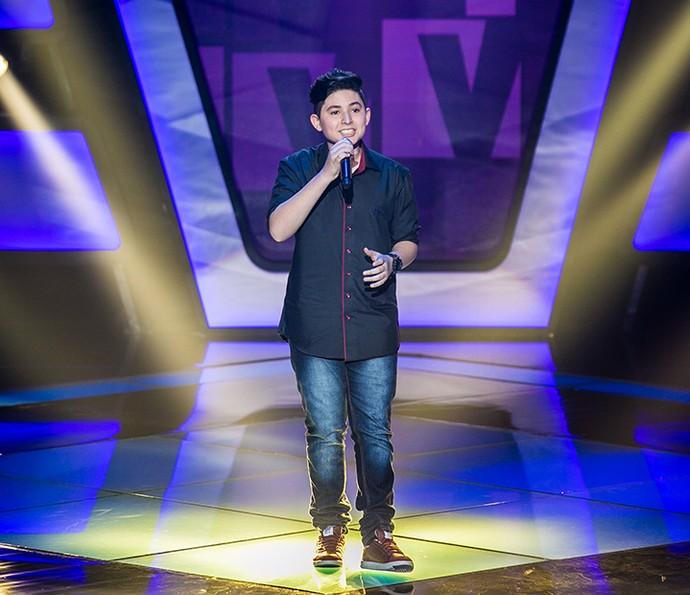 Gabriel Lins canta 'Escreve aí' em sua Audição do The Voice Kids (Foto: Isabella Pinheiro/Gshow)