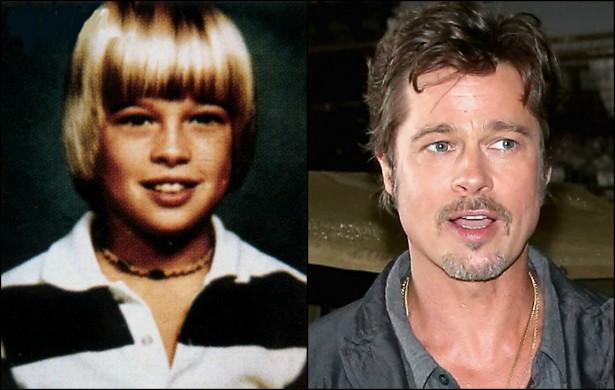 O galã cinquentão Brad Pitt já teve seus dias se menino simples do interior do Oklahoma. (Foto: Acervo Pessoal e Getty Images)