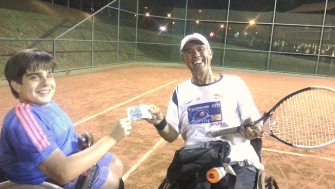 João Batista e Fábio Bernardes, tênis de cadeira de rodas de Uberlândia (Foto: João Batista / Arquivo Pessoal)
