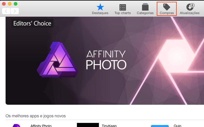 Clicando na aba Compras da App Store (Foto: Reprodução/Edivaldo Brito)