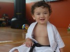 Recém-separada, Daniele Suzuki posta foto do filho de quimono