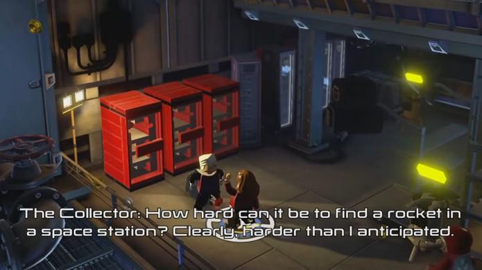 Em LEGO Avengers o Colecionador está disposto a trocar blocos vermelhos que liberam Cheats por outros itens raros (Foto: Reprodução/Video Games Blogger)