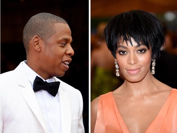 Jay Z e Solange, irmã de Beyoncé, durante o baile do Metropolitan (Foto: Larry Busacca e Mike Coppola / AFP)