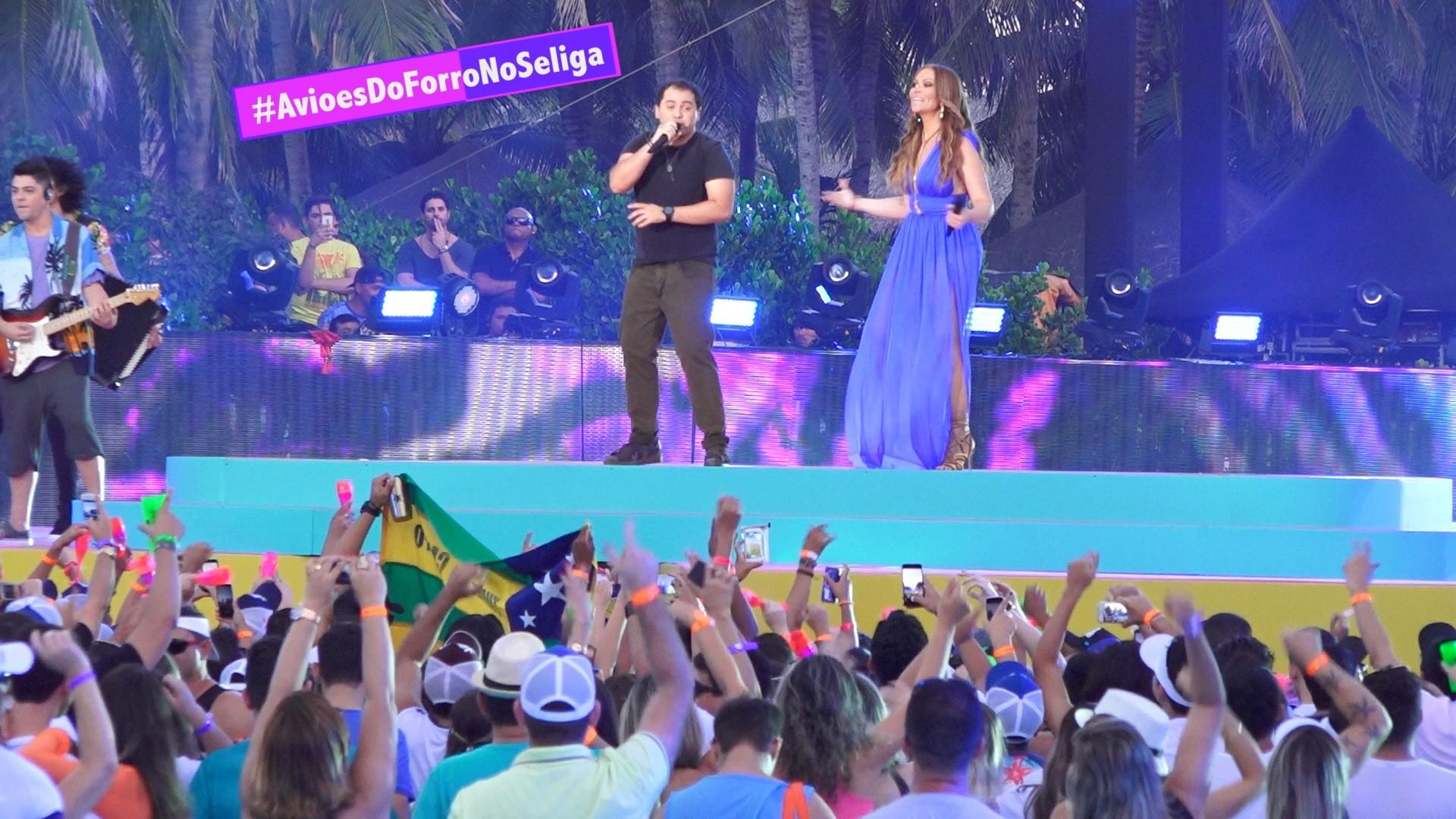 Solange Almeida e Xand Avião agitaram a gravação da Pool Party do Aviões. (Foto: Produção / Se Liga VM)