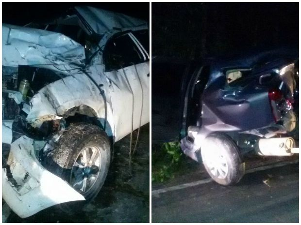 Picape e Logan ficaram destruídos  (Foto: Divulgação/Polícia Civil)