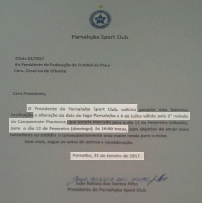 Documento Parnahyba (Foto: Arquivo Pessoal )