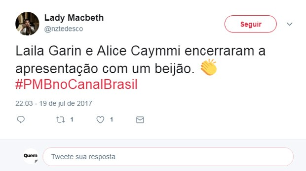 Beijo de Alice Caymmi e Laila Garin repercute na web (Foto: Reprodução/Twitter)