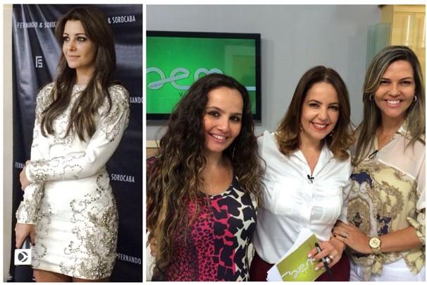 A apresentadora do Carona, Cecília Ribeiro. Ao lado Mônica Cunha e os convidados do Bem Viver  (Foto: Divulgação | TV Integração)
