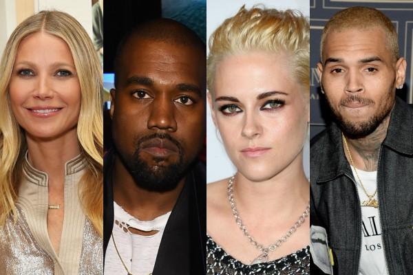 Gwyneth Paltrow, Kanye West, Kristen Stewart e Chris Brown (Foto: Getty Images)