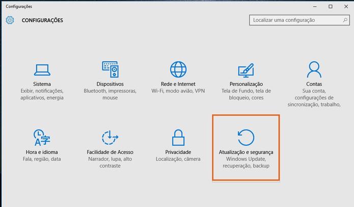 Clique no ícone de atualizações e segurança do Windows 10 (Foto: Reprodução/Barbara Mannara)