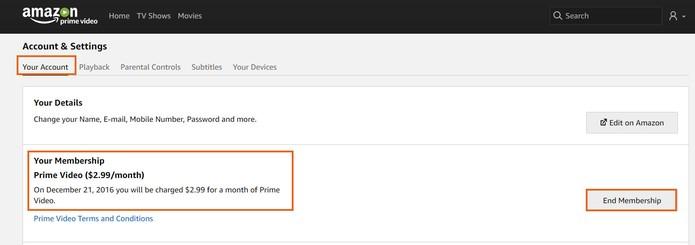 Inicie o cancelamento da sua assinatura no Amazon Prime Video (Foto: Reprodução/Barbara Mannara) (Foto: Inicie o cancelamento da sua assinatura no Amazon Prime Video (Foto: Reprodução/Barbara Mannara))