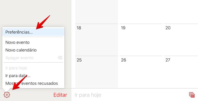 Acesse as preferências do calendário (Foto: Reprodução/Helito Bijora)