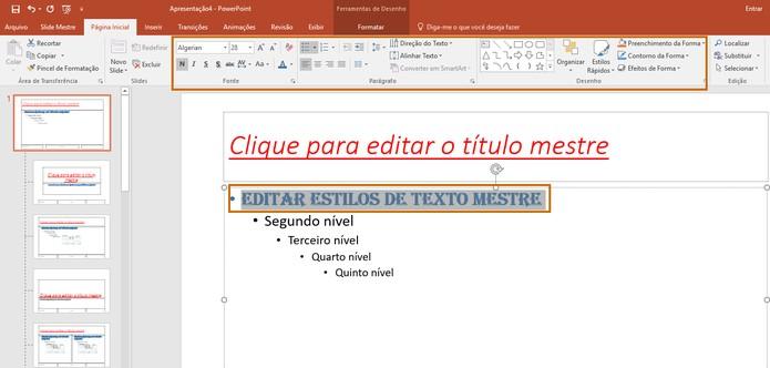 Edite o subtítulo e demais textos do Slide Mestre (Foto: Reprodução/Barbara Mannara)