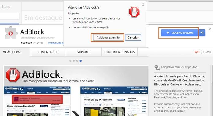 Adicione a extensão AdBlock no navegador (Foto: Reprodução/Barbara Mannara)