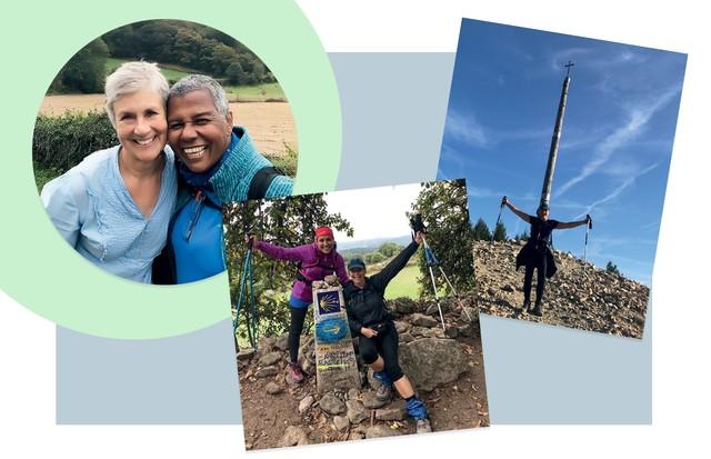 Da esquerda para a direita, Ellen, do Tennessee, com a carioca Cezarina, que Tânia conheceu no percurso; na Cruz de Ferro; e com a grande companheira de peregrinação, Catarina (Foto: Arquivo Pessoal)