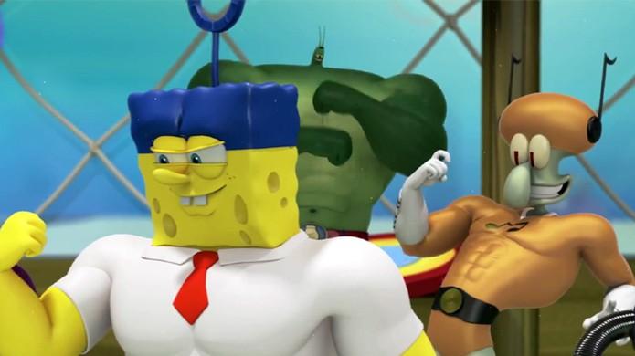 Bob Esponja e seus amigos ganham super poderes para combater um pirata (Foto: Reprodução: YouTube) (Foto: Bob Esponja e seus amigos ganham super poderes para combater um pirata (Foto: Reprodução: YouTube))
