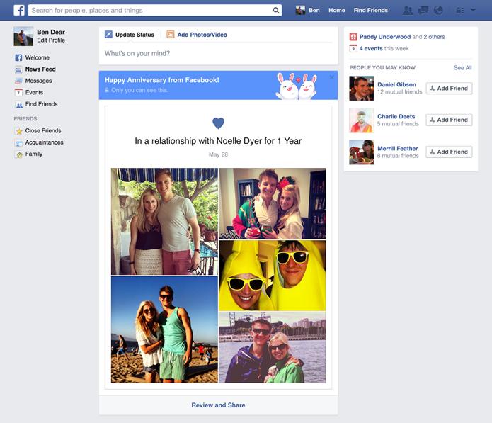 Recurso do Facebook permite que casais comemorem aniversários com mais facilidade (foto: Divulgação/Facebook)